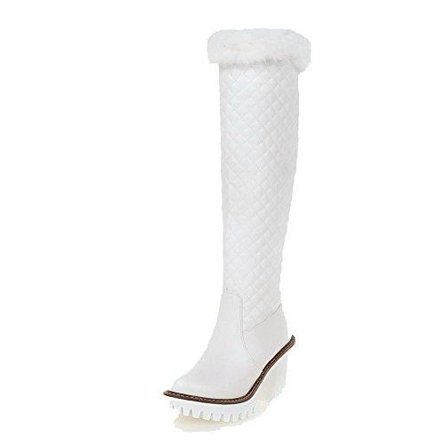 AllhqFashion Damen Hoher Absatz Weiches Material Hoch-Spitze Rein Ziehen Auf Stiefel Weiß