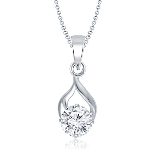 Meenaz Jewellery Silver Plated Solitaire Pendant for girls With Chain For Girls women PS119