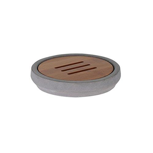 axentia Turin Seifenschale-Seifenhalter aus Beton-Seifenablage-Holz Badzubehör für Waschbecken und Dusche-Ablage für Seife, Bambus, Grau/holzfarben, 12 x 12 x 2.5 cm