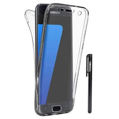 Misstars Coque en Silicone pour Samsung Galaxy S6 Edge Plus 360 Degrés de Protection, 2 en 1 Avant Arrière Transparent Souple TPU Gel Etui Anti-Scratch Full Body Cover, Clair