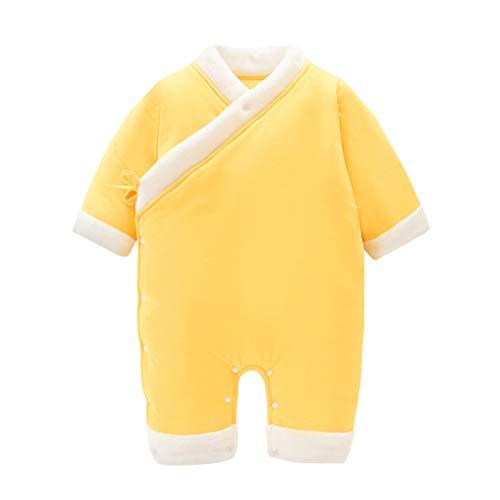 Livoral Kinder Wintermantel Jacke Junge Neugeborenes Baby, Baby, Blumenmädchen, Dickes warmes, Kimono, Overall, Pyjama(Gelb,3-6 Monate)