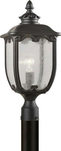 FORTE Beleuchtung 1821-01-04Traditionelle einflammig Außen Post Mount Laterne mit klaren Seeded Glas, schwarz Finish von Forte Beleuchtung -