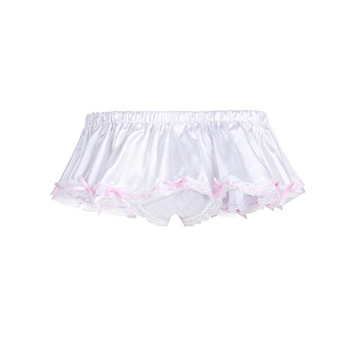 Men Sissy Panties Lingerie Gay Underwear Thong Shorts Underpants Shiny Bowknot Ruffled Skirted Male Lace Briefs,Ivory,XL -