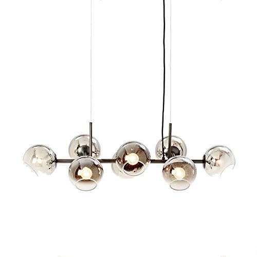 FEE-ZC Bubble Ball Kronleuchter, 8 Licht Transparent Deckenbeleuchtung Glasschirm Nordic Einfache Lampe Ron Kunst Anhänger Für Bar Schlafzimmer Bar Korridor Hotel, Smoke Gray - Acht Licht-anhänger Kronleuchter