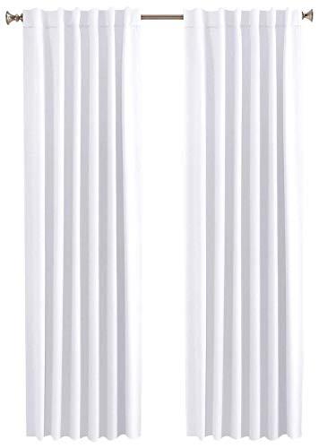 Baumwolle-Klinik Vorhang 2 Stück - Slub Baumwolle Gardine, Vorhänge Wohnzimmer, Vorhänge Schlafzimmer, Vorhänge küche 127x213 cm 2er Set Weiß (Extra Gardinenstange Lang Braun)