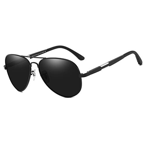 DUCO Unisex Fliegerbrille Polarisierte Sonnenbrille, Pilotenbrille mit Federscharnier, Etui und Putztuch (schwarz)