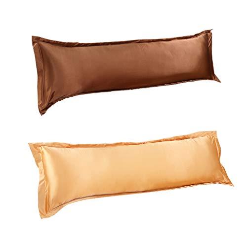 F Fityle 2 Farben Pack Double Size Envelope Körper Kissenbezug Abdeckung Hypoallergen 47x19inch Coffee Golden -