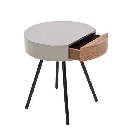 HAIMING-zhuozi Massivholz Kleiner Runder Tabellen-Lagertisch, Nachttisch-Couchtisch-beiläufiger Tisch, Nordische Asche, 45cm * 45cm * 54cm