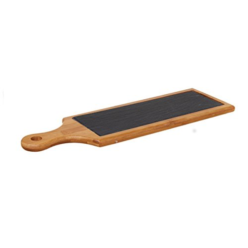 Piatto vassoio tagliere in ardesia rettangolare con legno bamboo dim. cm 44x10 set 12 pezzi professionale