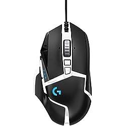 Logitech G502 HERO Souris Gamer Filaire Haute Performance, Capteur HERO 16K, 16000 PPP, RVB, Poids Ajustable, 11 Boutons Programmables, Mémoire Intégrée, PC/Mac - Noire et Blanche