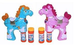 2 x Süße Pferde Seifenblasen Pistole in Blau & Rosa LED Licht Funktion Seifenblasenmaschine Bubble Gun inkl. 4 x Seifenblasenlösung / Flüssigkeit & 6 AA Ambe Batterie