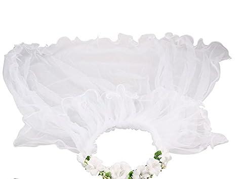 LUOEM Hochzeit Schleier zwei Schichten mit Blumenstirnband