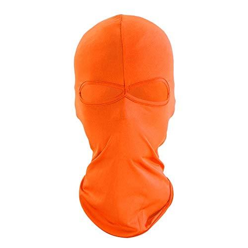YuanChengKeji Reitmaske Männer Frauen Schnelltrocknende Kappe Wandern Visier Hut UV-Schutz Gesicht Hut Sturmhaube Neue Vollmaske Zwei Löcher Unisex Himmelblau (Color : Orange)