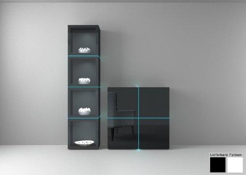 Dreams4Home Wohnkombination - Vitrine+Sideboard Square Wohnwand weiß o schwarz hochglanz Beleuchtung, Beleuchtung:ohne Beleuchtung;Farbe:Schwarz