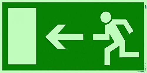 Fluchtweg Notausgang Schild Kunststoff nachleuchtend + selbstklebend DIN BGV 8A Pfeil links