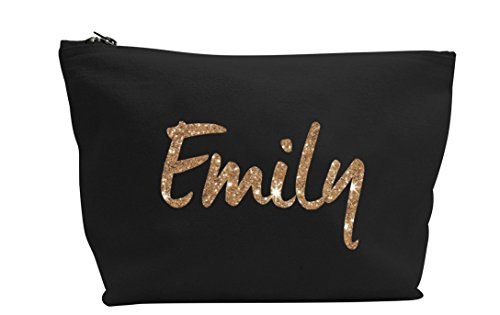Personalised Name Make Up Accessory Bag In Black or Natural Colour any Name Metallic or Glitter Print The Perfect Gift For any Occasion, Christmas, Birthdays Weddings (Black Bag, Glitter Rose Gold)