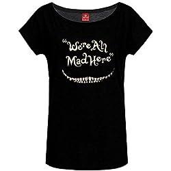Alice im Wunderland Grinsekatze - We're All Mad Here T-Shirt schwarz XL