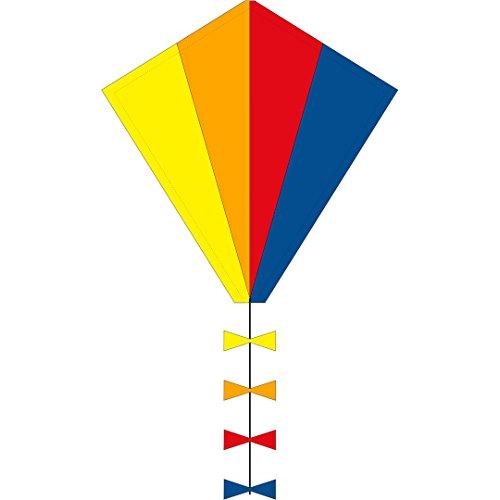 Ecoline 102100 - Eddy Spectrum 50cm Kinderdrachen Einleiner, ab 5 Jahren, 50x45cm und 2.5m Drachenschwanz, inkl. 10kp Polyesterschnur 25m auf Griff, 2-5 Beaufort