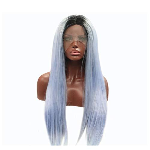 LNNA Lange gerade hitzebeständige Kunstfaserperücken Natürlicher Haaransatz Hellschwarz bis blaues Haar für Cosplay/Celebrity/Halloween 20 Zoll Celebrity Abendkleid