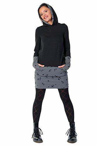 Kapuzen Winter Kleid Hoodiekleid Damen Mädchen Mini Rock Stulpen Daumenloch Jersey Jerseykleid 3 Elfen schwarz grau Vogel L (Ein Vogel In Der Hand)