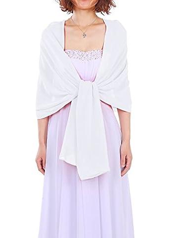 Dressystar Elégante écharpe/Foulard en Mousseline de soie unicolore pour soirée/bal blanc 200cm*50cm