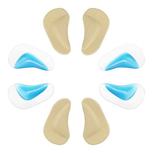 Suweor upo 4 Paare Khaki+Blau Silikon Gel Flat Foot Arch Support Einlegesohlen - Fuss Einlagen Korrektur Pads Bogen Pads für Plattfuß Professionelle Plattfuß Corrector/Mittelfuß Pads - Gute Füße Arch