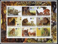 Angola 2000 Big Cats imperf sheetlet set of 9 values (horiz format) each with Rotary & Scouts Logos, u/m CATS LIONS TIGERS LEOPARDS CHEETAHS ROTARY SCOUTS JandRStamps