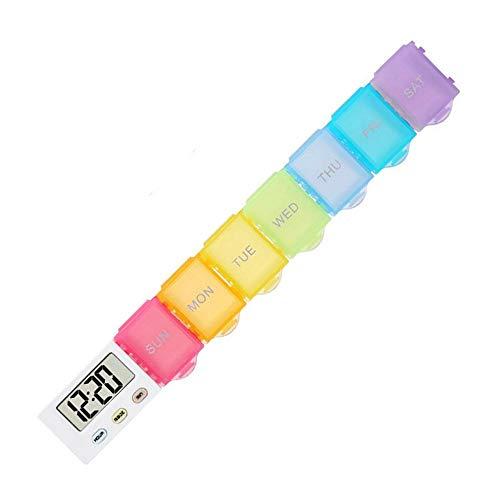 Hamkaw Wöchentliche Pill Organizer, 7 Tage Rainbow Digital Pill Organizer Täglicher Pill Boxer Tragbarer Pillen-Organizer Leichte 5 Gruppen Uhr Easy Carry Alarm Reminder Pill Box -