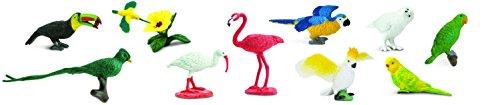 Vögel TOOB® 680404 12x handbemalte Sammelfiguren in Tube- Sittich, Quetzal, Papagai, Gelbbrustara, Kolibris, Fischertukan, Scharlachsichler, Kakadus, Flamingo, Schneesichler, Schnee-Eule und Amazonenpapageien (Cowboy-ballons)