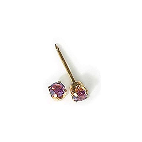 Inverness 24kt Gold Plated Birthstone Gems 3mm Piercing Earrings February Amethyst by Inverness