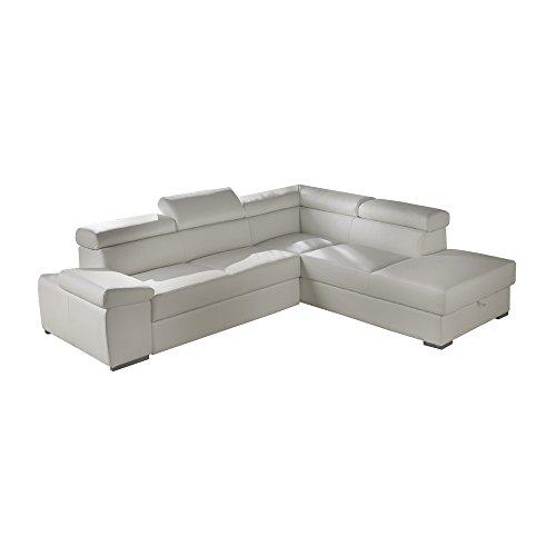 Casarreda divano letto angolare mod.denver con penisola dx ecopelle bianco con contenitore e funzione letto