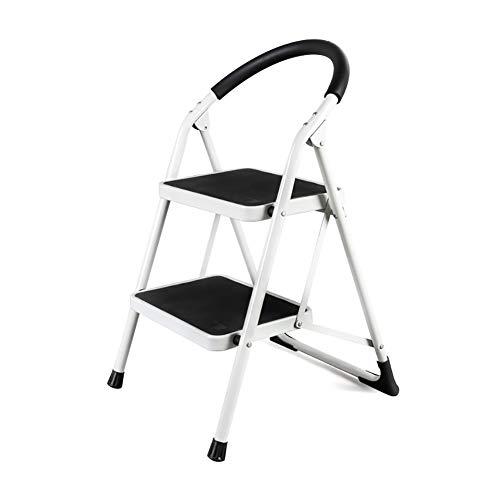 Tritthocker Faltbarer Tritthocker Für Erwachsene Und Senioren, Weiße 2-Stufen-Leiter Für Küche/Wohnzimmer, Tragbare Trittleiter Mit Handgriff, 49 × 51 × 77,5 Cm