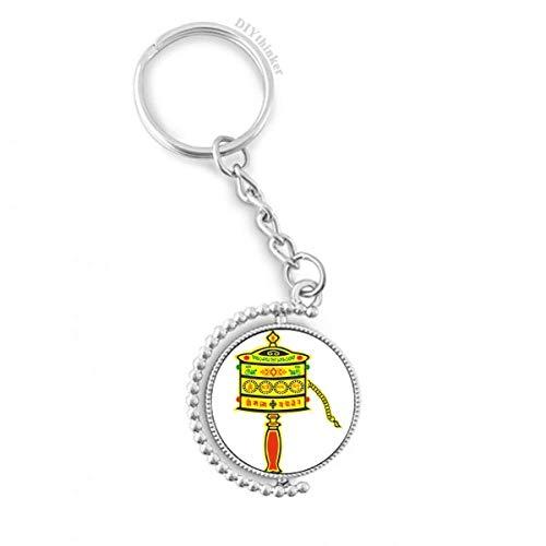 DIYthinker Buddhismus Religion Gebet-Rad Sanskrit Drehbare Schlüsselanhänger Ringe 1.2 Zoll x 3.5 Zoll Mehrfarbig