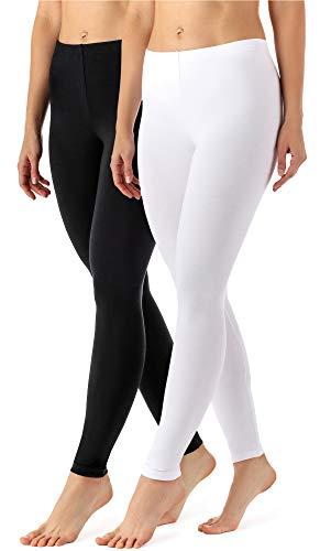 Merry Style Damen Lange Leggings aus Viskose 2 Pack MS10-143 (Schwarz/Weiß, S)