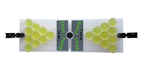 Fun Cooperation Shot Pong Das Beste Trinkspiel für Jeden Anlass! Inkl. 2 Fingerkatapulten & 25 Shotbecher | Die Perfekte Geschenkidee! der Mini Beer Pong Tisch für Jede Party | Vodka Pong | Gin Pong