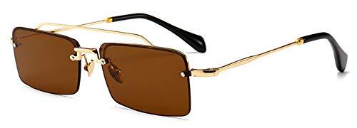 Sonnenbrille,Retro, Rechteckige Sonnenbrille Männer Metall Rahmen Gold Braun Rot Halb Randlose Quadrat Sonne Gläser Für Sommer Männer Frauen Gold Mit Braunem