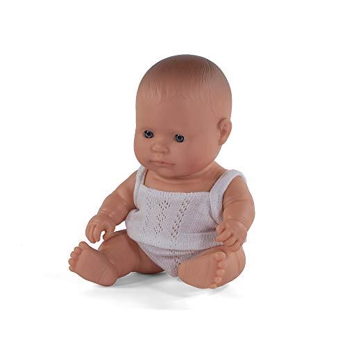Miniland- Baby Europeo Niño 21cm Muñeco, Color Real, 21 cm (31121)