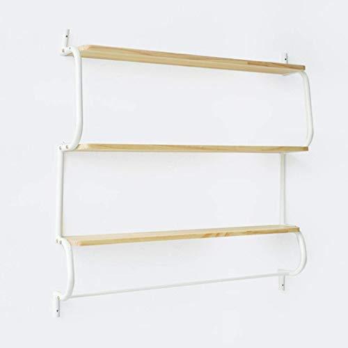 Holz-speicher-wand-einheit (Willesego Wand-Eisen Regale Wand Massivholz Partitionen Rack Einfache Bücherregal Wand Wohnzimmer Schlafzimmer-Speicher-Einheit Ausstellungsstand, 84 * 14 * 82.5cm (Farbe: # 1) (Farbe : #1))