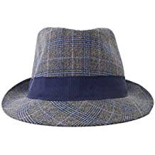 Cappello Invernale Da Uomo In Lana Modello Borsalino Fantasia Principe Di  Galles Blu grigio a6afd4808cd1