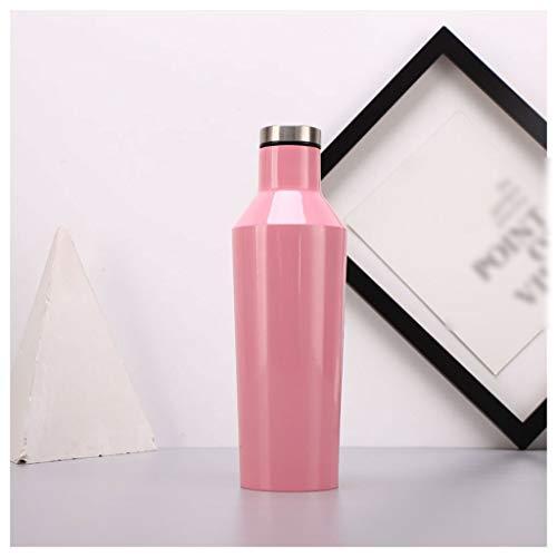 Edelstahl Wasserflasche AXZXC Isolierte Wasserflasche 500 ml / 750 ml Vakuumisolierung Tragbare Thermosflasche Outdoor Home Blau Schwarz (Color : B, Size : 500ml) -