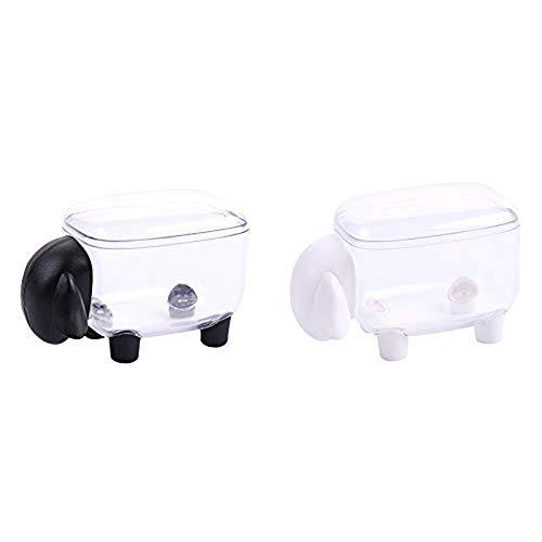 2 Stücke Schafe Desktop Aufbewahrungsbox Wattestäbchen Halter Apotheker Gläser Premium Qualität Schaf Geformte Lagertank Lagerung Tragbare mit Abdeckung Staubdicht -