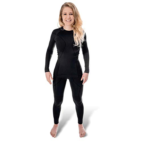 Black Snake® Funktionsunterwäsche Damen Thermo Unterwäsche Lange Unterhose + Langarm Unterhemd Seamless - L/XL - Schwarz