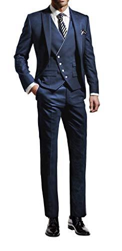 Suit me 3 parti uomo abito suit slim fit abiti festa di nozze smoking giacca, gilet, pantaloni blu xl