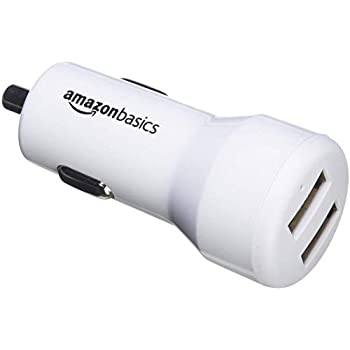 AmazonBasics 4.8 Amp/24W Dual USB Car Charger for Apple & Android Devices, White
