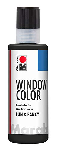 Marabu 04060004073 - Window Color fun & fancy, Konturenfarbe auf Wasserbasis, ablösbar auf glatten Flächen wie Glas, Spiegel, Fliesen und Folie, 80 ml, schwarz
