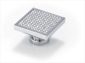 Topex p2080crlswa quadrato grande, con cristalli Swarovski manopola & # 44; Cromo Lucido