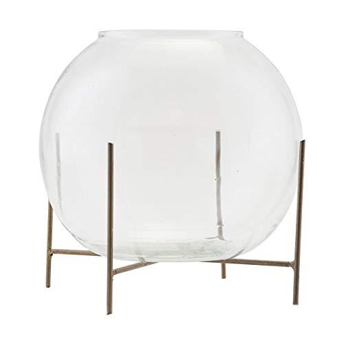 Ada Glas (House Doctor - Vase w. Stand - Ada - Kugelvase mit Ständer - Glas/Metall - Ø: 20cm x H: 16cm)