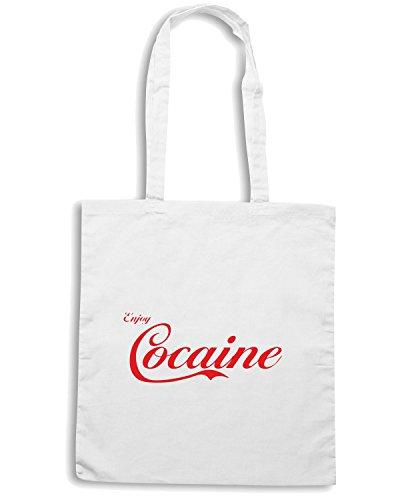 T-Shirtshock - Borsa Shopping ENJOY0039 Enjoy Cocaine white Bianco