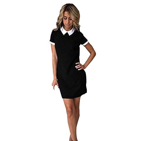 Manadlian ♥ Damen Kleider ♥ Frauen Sommer Schön Mini Kleid (L, Schwarz)