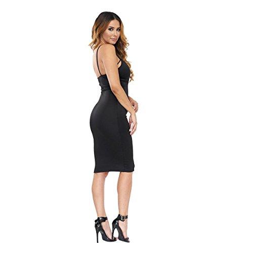 SHISHANG Damen kleiden Art und Weise 3 Farbauswahl hohe elastische Nachtclub Sommer dünnes Kleid Black